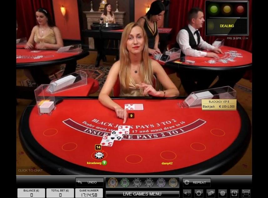 Live dealer blackjack Thrills
