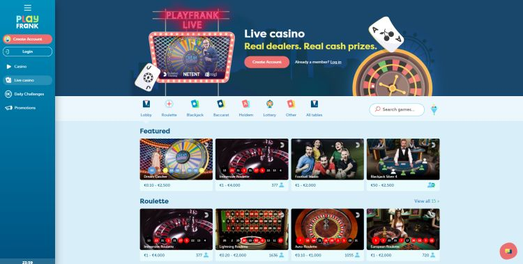 PlayFrank casino review live casino