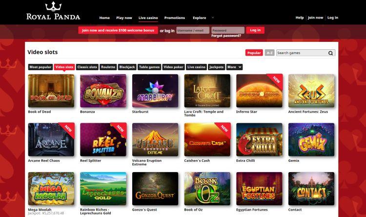Royal Panda Casino Review slots