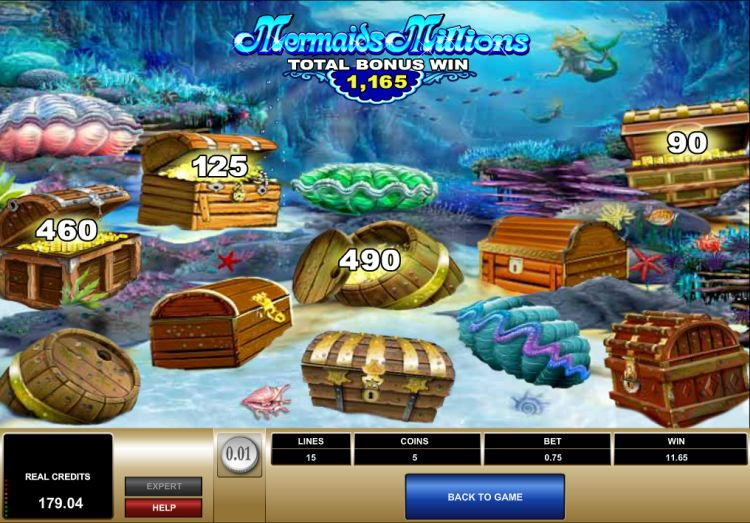 Mermaids Millions Microgaming bonus
