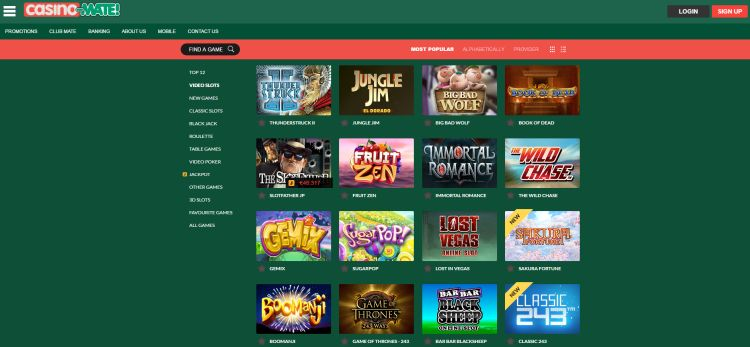 Casino Mate review game selection