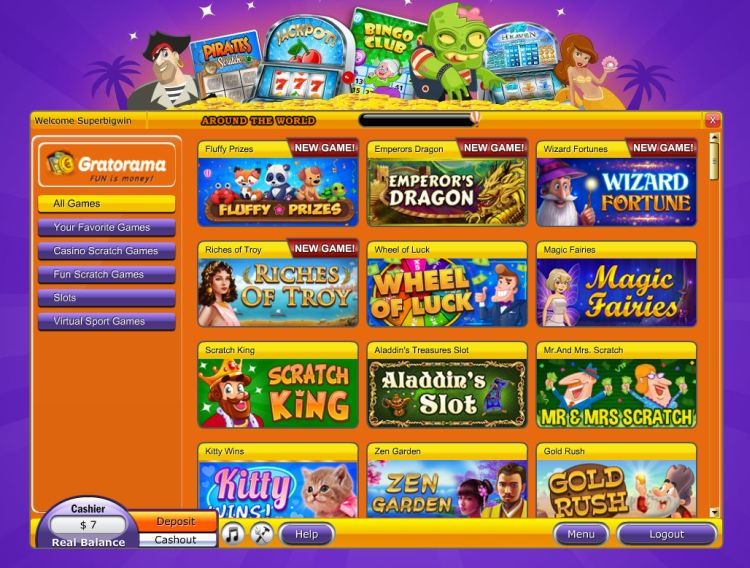 Gratorama casino game selection