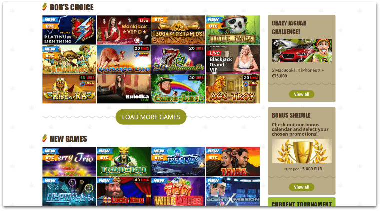 Bob Casino pokies selection AU
