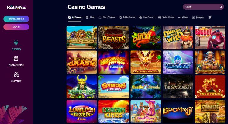 Kahuna Casino review games
