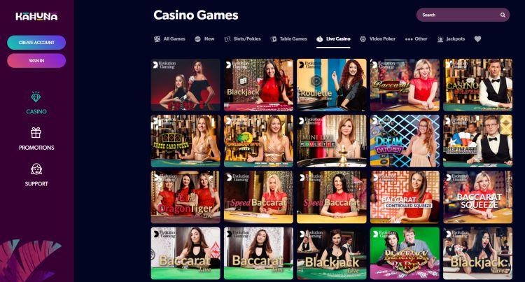 Kahuna Casino review live casino