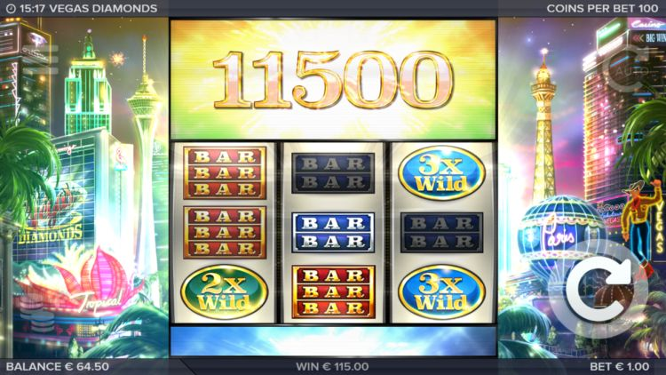 Vegas Diamonds slot review super win