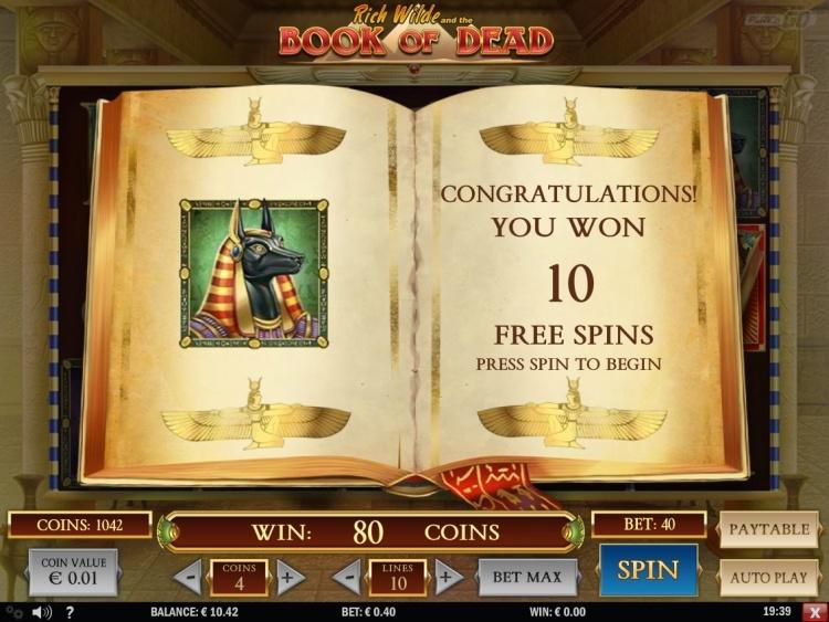 Book of dead Play n Go slot review bonus