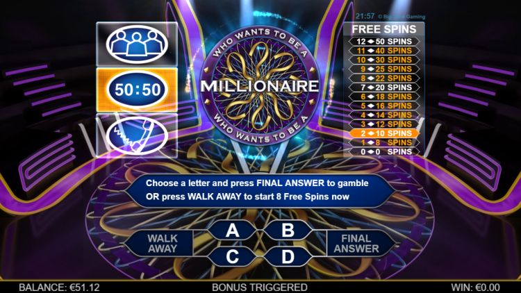 Who Wants to be a millionaire slot review feature 2