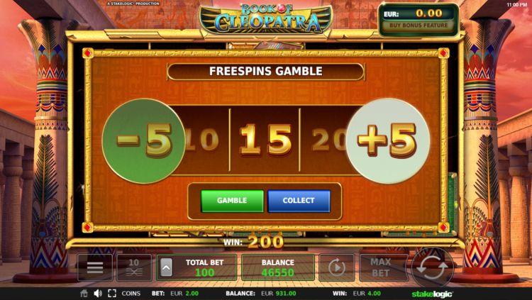Book of Cleopatra slot review stakelogic bonus gamble