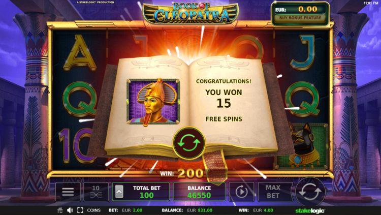 Book of Cleopatra slot review stakelogic bonus win