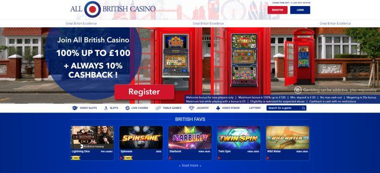 All British Casino review bonus