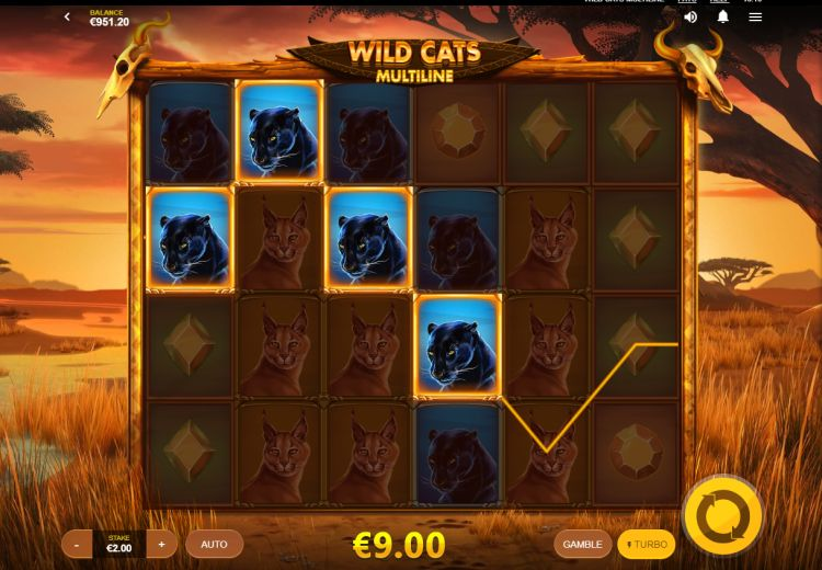 Wild Cats Multiline slot review (Red Tiger) - SuperBigWin.com