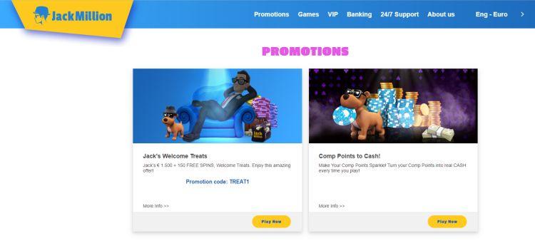 Jack Million casino review promotions