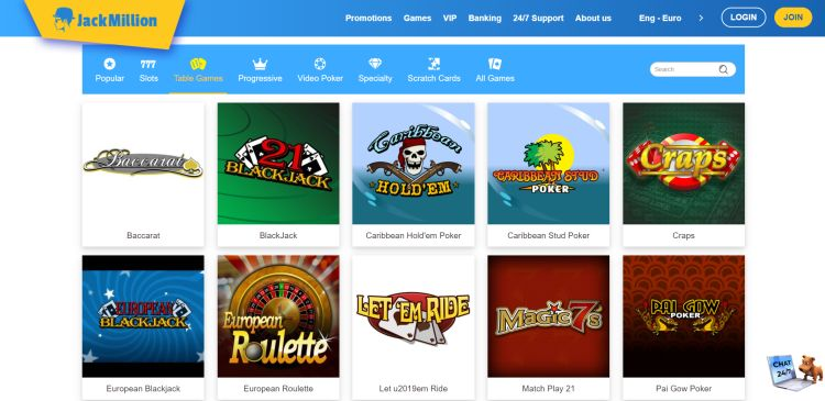 Jack Million casino review table games