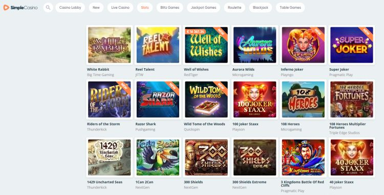 Simple casino review games selection