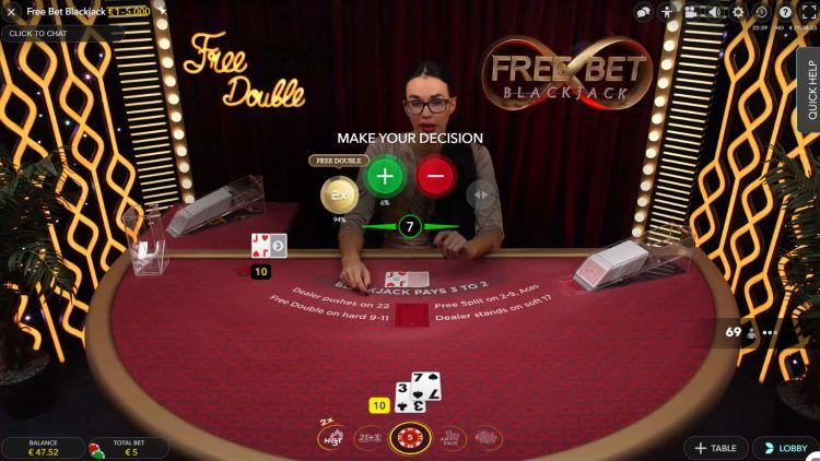Free Bet Blackjack Evolution Gaming free bet