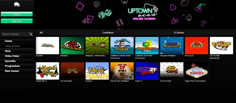 Uptown-Aces-Casino-review table games